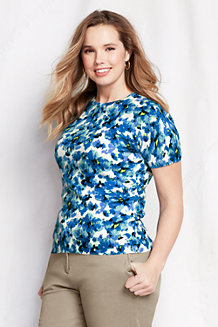 Women's Supima Floral Print Short Sleeve Jumper