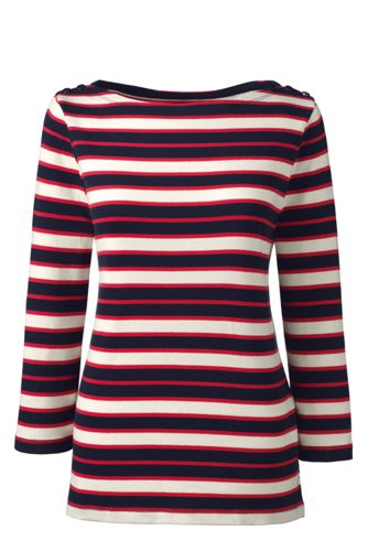 Women's Regular Stripe Cling-Free Rib Boatneck Tee