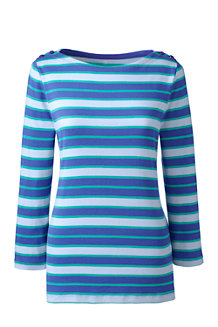 Women's Stripe Cling-Free Rib Boatneck Tee