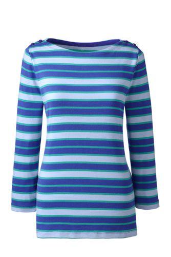 Women's Regular Stripe Cling-Free Rib Boatneck Tee