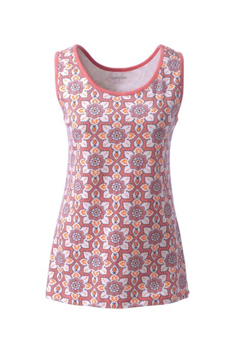 Women's Petite Cotton Tank Top Print