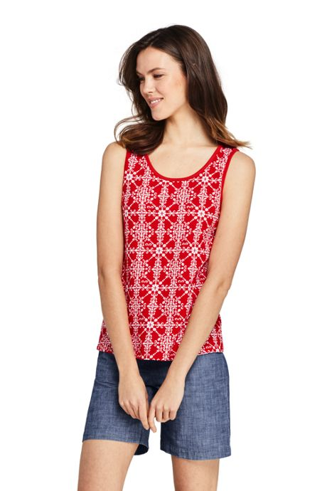 Women's Petite Print Cotton Tank Top