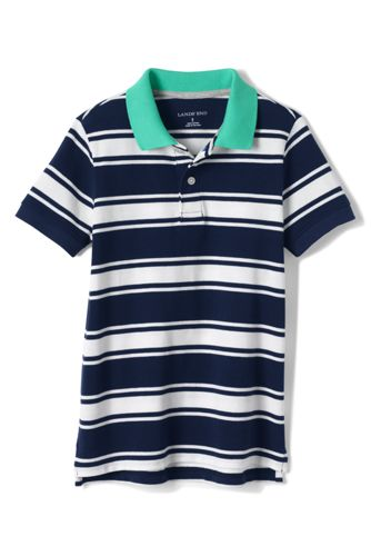 Little Boys' Striped Piqué Polo