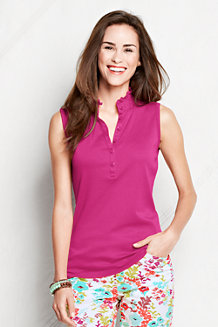 Women's Classic Fit Sleeveless Supima Ruffle Polo