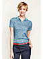Women's Petite Short Sleeve Patterned Tipped Collar Pima Polo Classic Fit