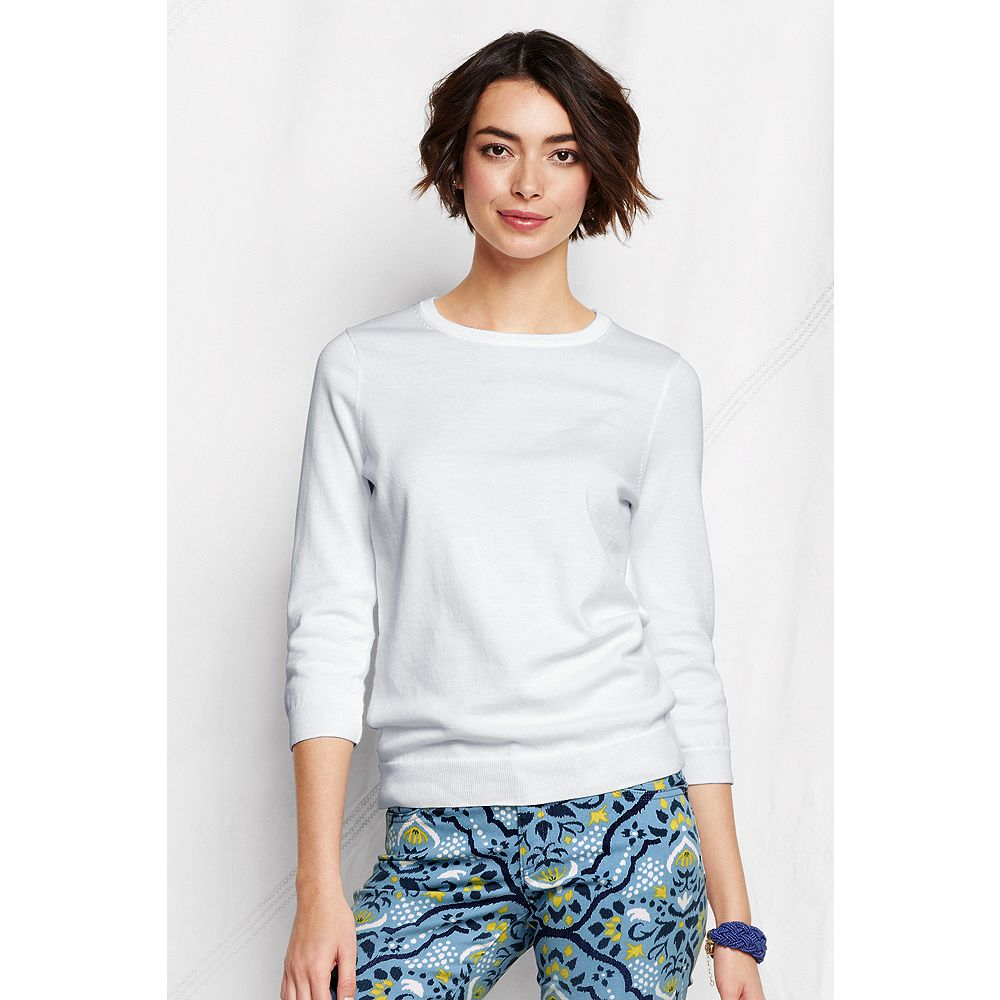 Lands' End Women's Tall Supima 3/4-sleeve Crew Sweater at Sears.com