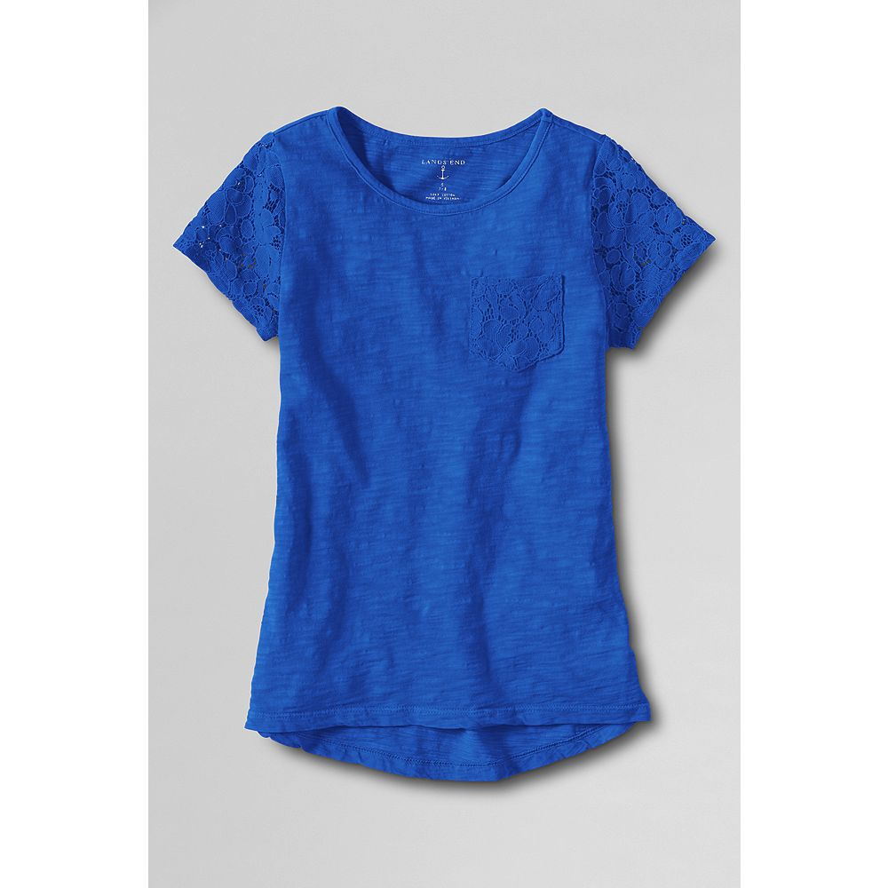 Lands' End Toddler Girls' Short Sleeve Lace Trim T-shirt at Sears.com