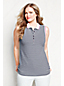 Women's Plus Classic Fit Sleeveless Striped Tipped Collar Pique Polo