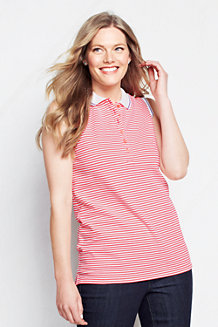 Women's Classic Fit Sleeveless Striped Tipped Collar Pique Polo