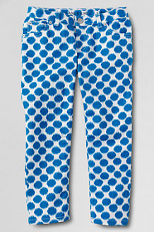 Girls' Patterned Denim 5-Pocket Capris