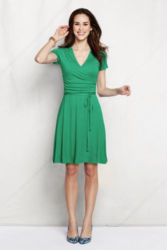 Women's Regular Ruched Wrap Jersey Dress