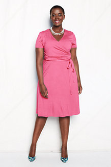 Women's Ruched Wrap Jersey Dress
