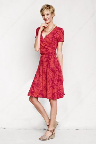Women's Petite Ruched Wrap Patterned Jersey Dress