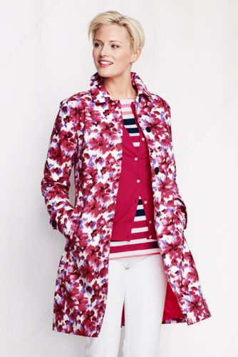 Women's Regular Pattern Coastal Rain Coat - Sandy Pink Floral, M