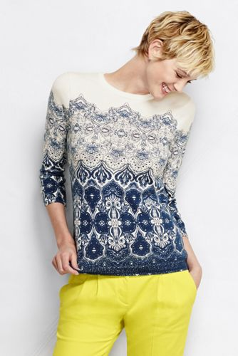 Women's Regular Supima Three-Quarter Sleeve Crew Neck Pattern Jumper