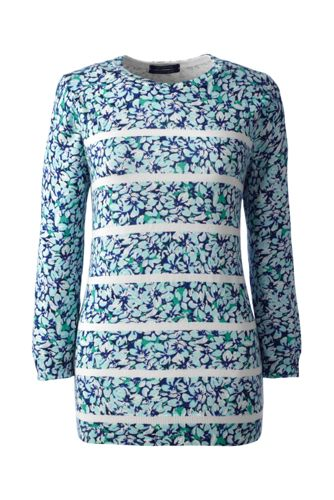 Le Pull Supima® Ras de Cou Manches 3/4 Floral Femme, Taille Standard