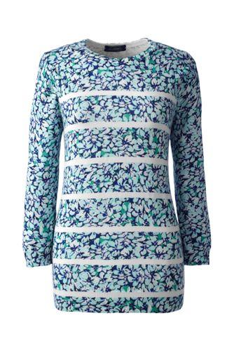 Gemusterter Supima Feinstrick-Pullover mit rundem Ausschnitt für Damen