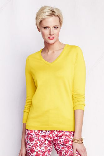 Women's Regular Supima Plain V-neck Jumper