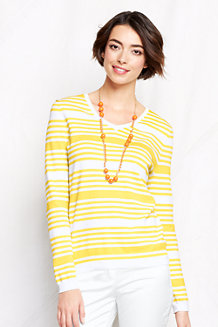 Women's Supima Striped V-neck Jumper