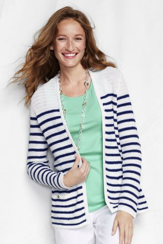 Women's Regular Striped Linen/Cotton Open Cardigan