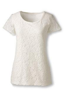 Baumwoll-Viskose-Lagenshirt mit Spitze für Damen