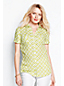 Women's Regular Short Sleeve Patterned Linen Shirt