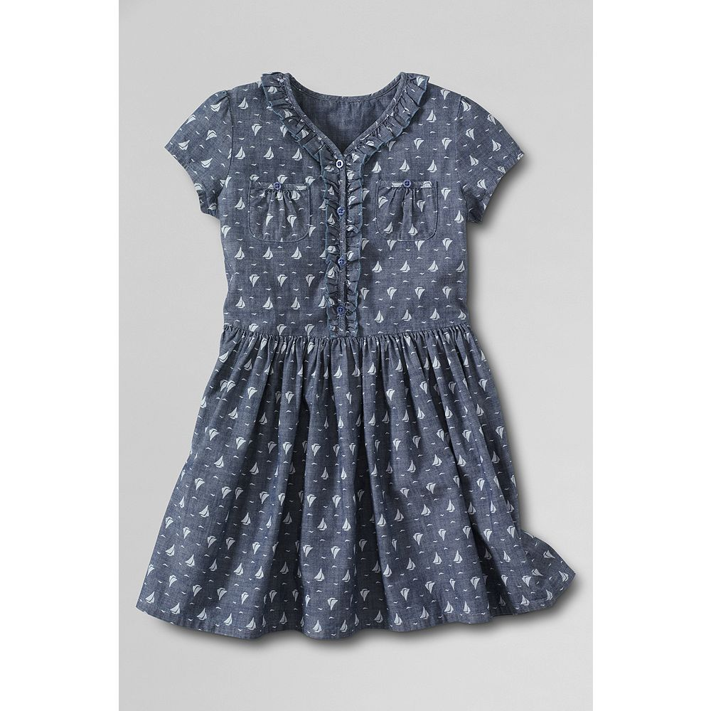 Lands' End Girls' Plus Short Sleeve Pattern Chambray Ruffle Front Pocket Dress at Sears.com