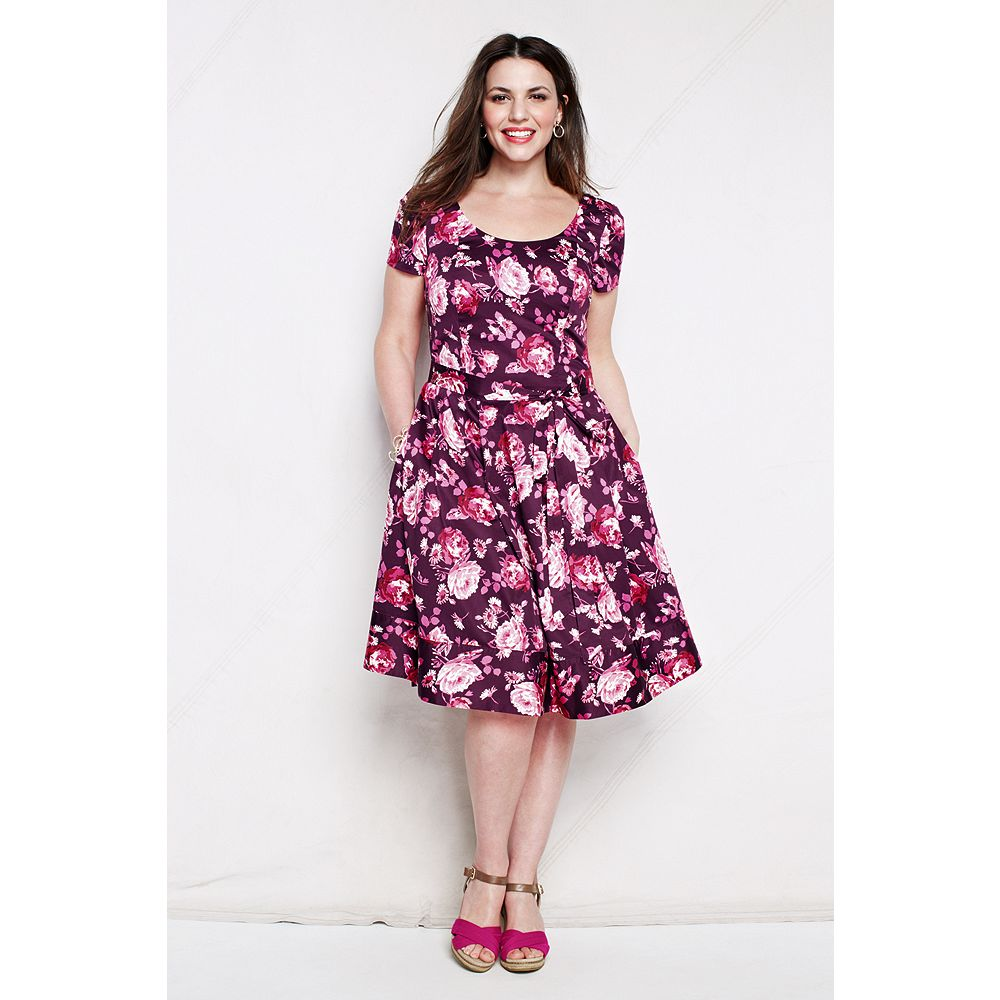 Lands' End Women's Plus Size Short Sleeve Pattern Woven Stretch V-back Dress at Sears.com