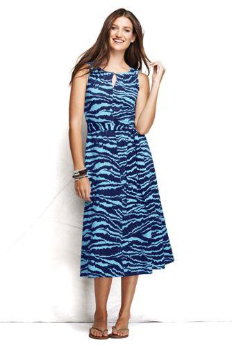 Gemustertes ärmelloses Jerseykleid mit Schlüsselloch-Ausschnitt für Damen