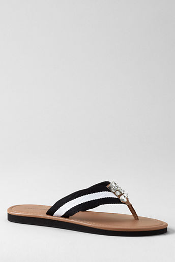 Women's Embellished Flipflops - Black