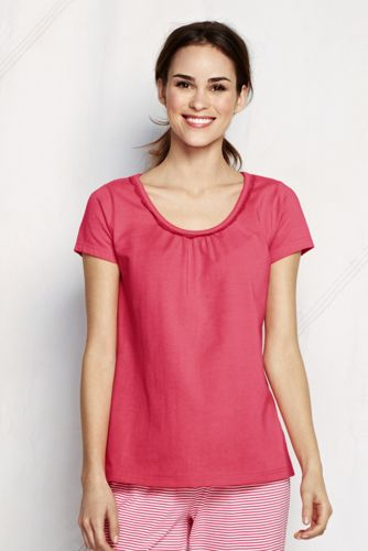 Women's Petite Jersey Lace Trim Sleep Tee