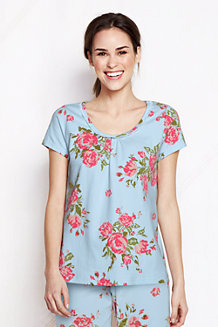 Women's Jersey Lace Trim Floral Print Sleep Tee