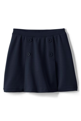 Girls' Button-front Ponté Skort - Classic Navy, 10