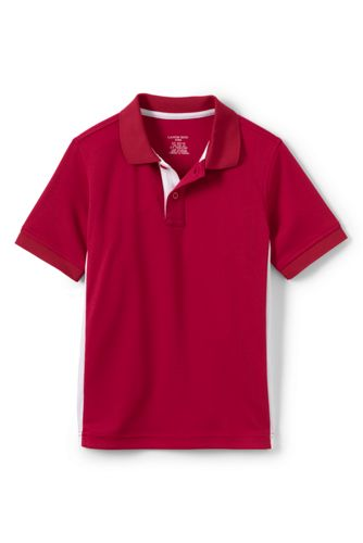 School Uniform Boys' Short Sleeve Colorblock Active Polo - Red, M