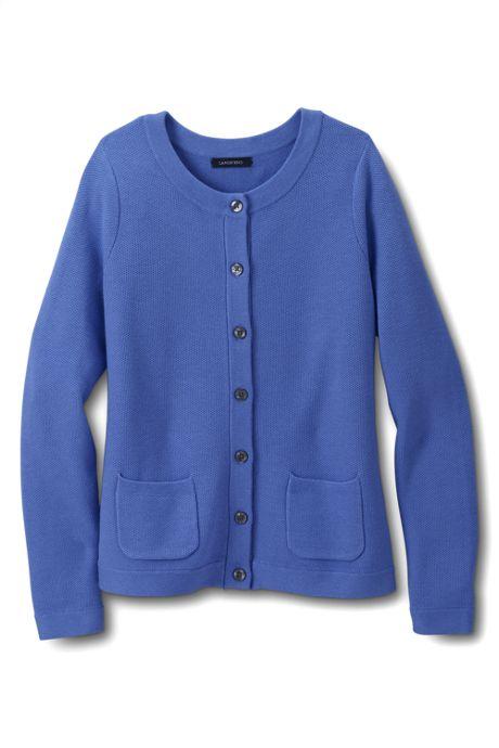 Women's Regular Tuck Stitch Cardigan Sweater