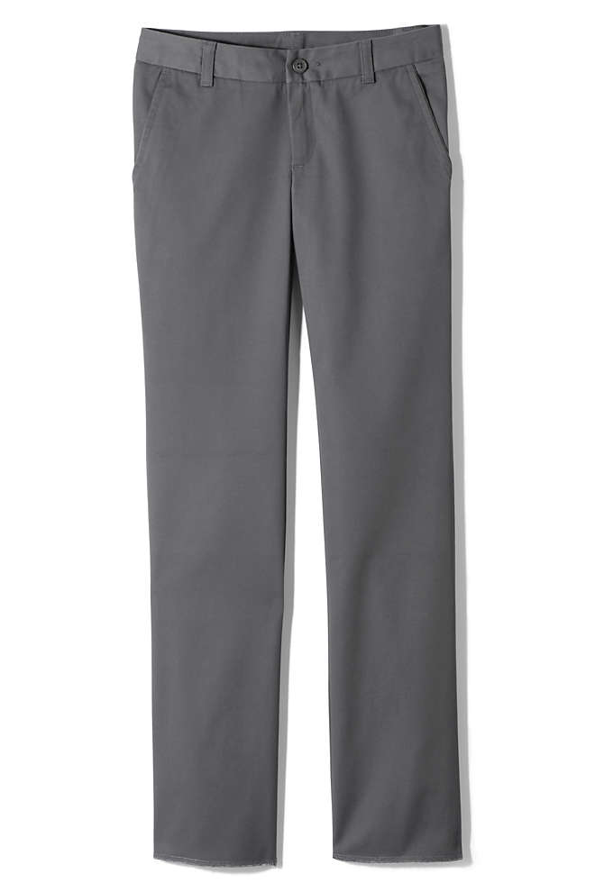 Girls Perfect Fit Iron Knee Blend Plain Front Chino Pants, Front