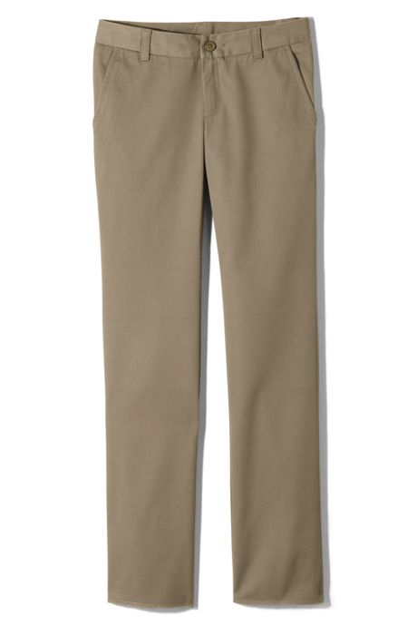 Girls Perfect Fit Iron Knee Blend Plain Front Chino Pant
