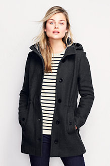 Women's Boiled Wool Blend Hooded Parka
