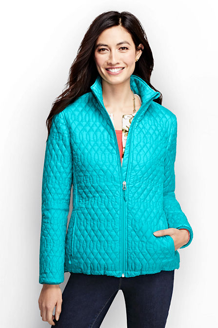 Lands End Womens Tall Primaloft Packable Jacket - Sunwashed Melon/Turquoise Tides