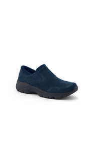 School Uniform Women's Wide Width All Weather Suede Leather Slip On Moc Shoes