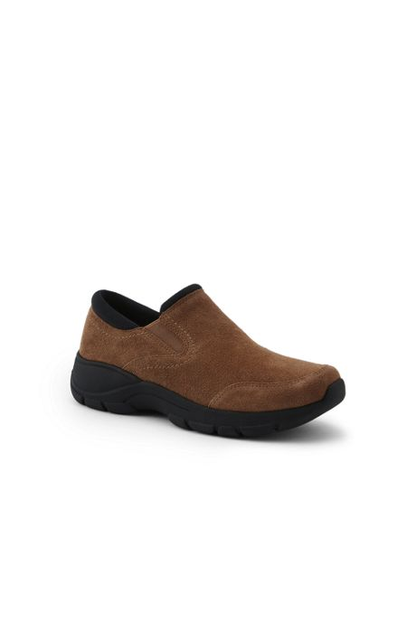 Women's Wide Width All Weather Suede Leather Slip On Moc Shoes