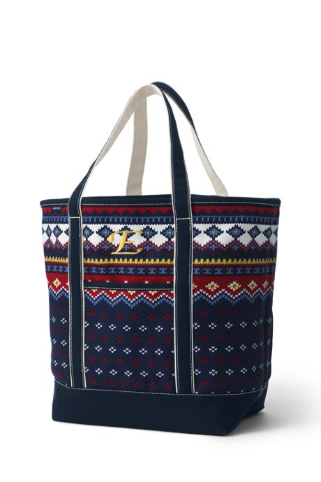 Large Print Open Top Canvas Tote Bag