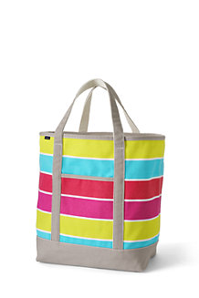 Large Open Top Print Canvas Tote
