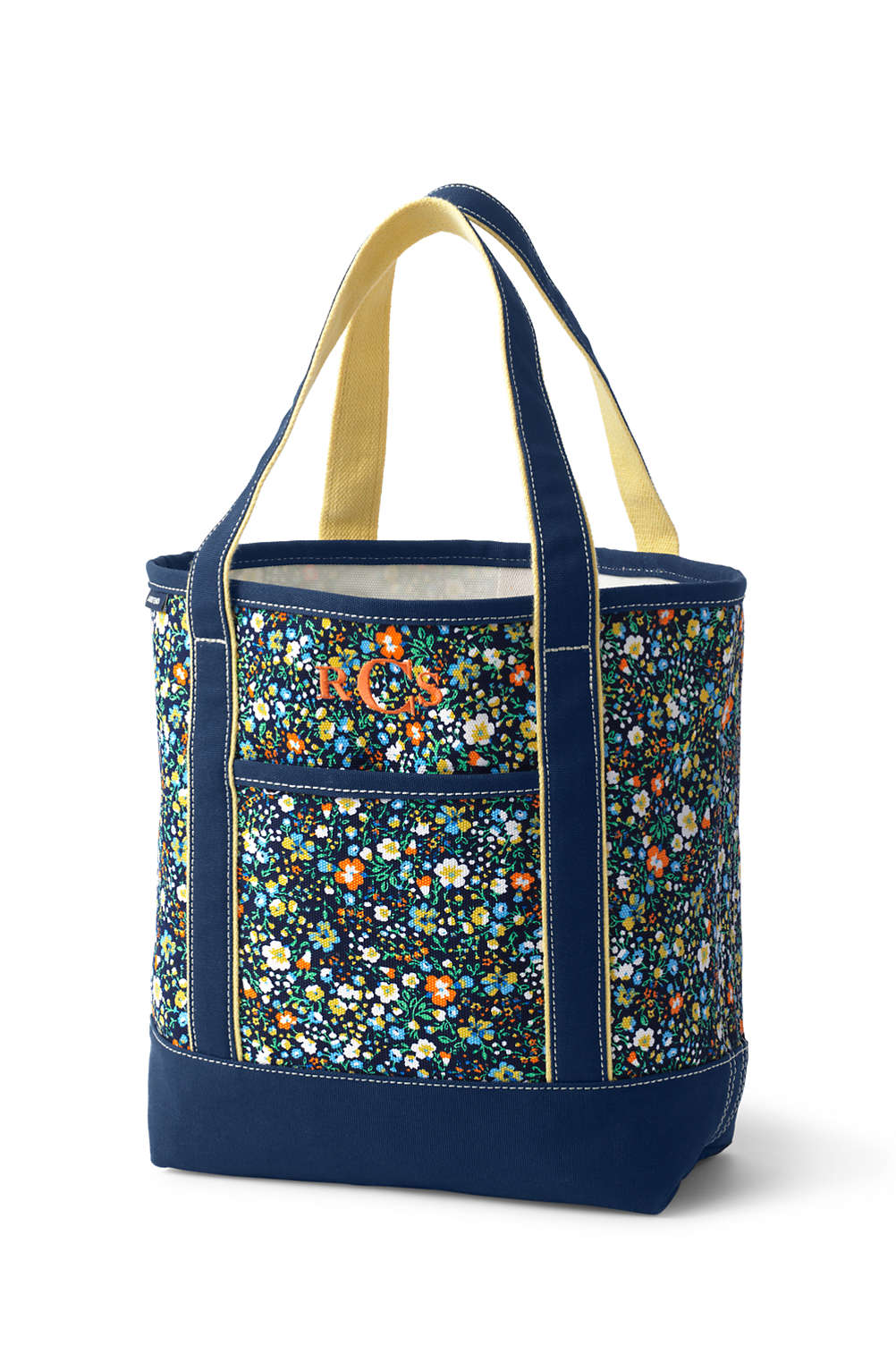 984116119 Open or Zip Top Print Canvas Tote Bag from Lands' End