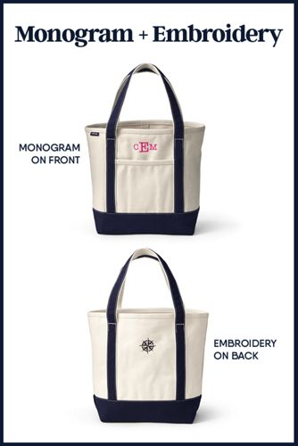 Extra Large Print Zip Top Canvas Tote Bag