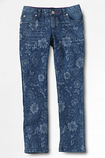 Girls' Patterned Pencil Leg Jeans