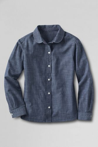 Little Girls' Peter Pan Collar Chambray Shirt
