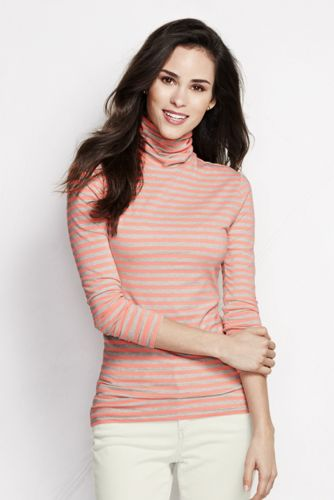 Women's Regular Fitted Cotton/Modal Striped Roll Neck