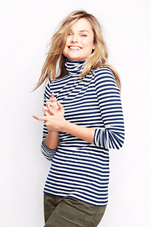 Women's Cotton/Modal Striped Roll Neck