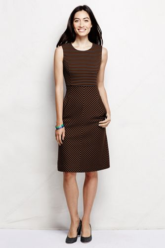 Women's Regular Stripe Ponte Jersey Sleeveless Sheath Dress